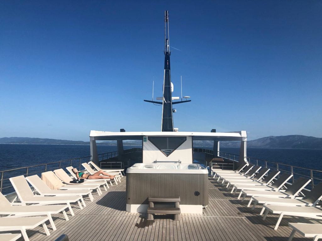 Sundeck on the Ave Maria ship.