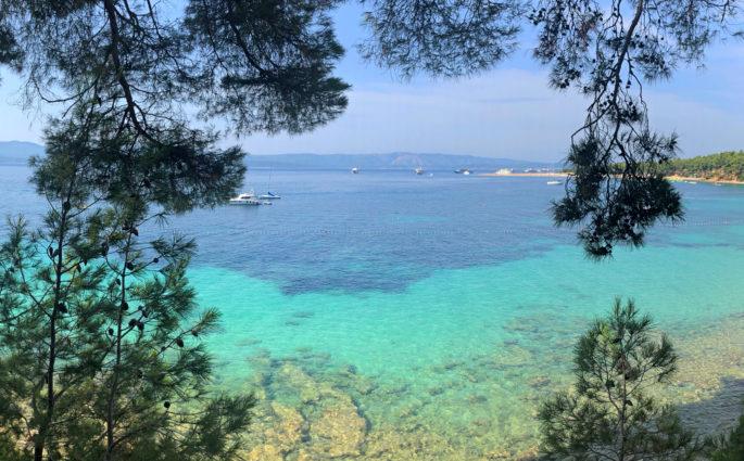 Turquoise gradient waters in Bol, Brač.